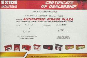 exide certificate
