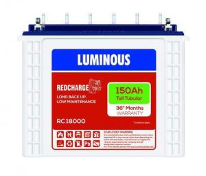 Luminous 150AH Red Charge 18000 Tall Tubular Battery