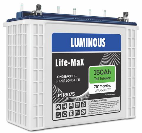 Luminous Life Max LM 18075 - 150AH 5 Year Replacement Battery