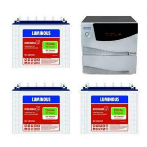 Luminous Inverter Cruze 2.5KVA with Luminous Redcharge RC 18000 150AH 3 Batteries