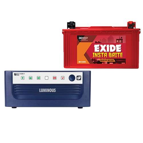Luminous Inverter Eco Watt 750VA+Exide Battery 88AH Combo Price