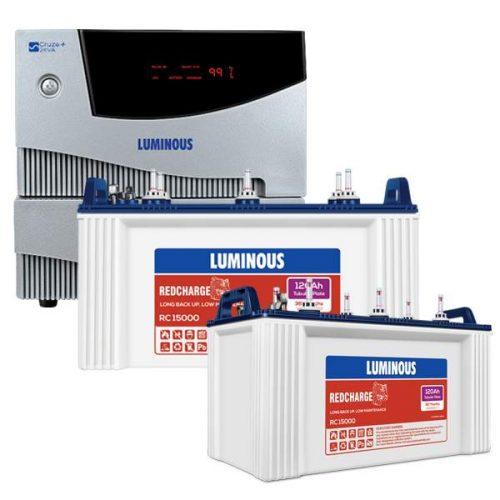 Luminous 2KVA Cruze Inverter with 120AH Double Battery Combo